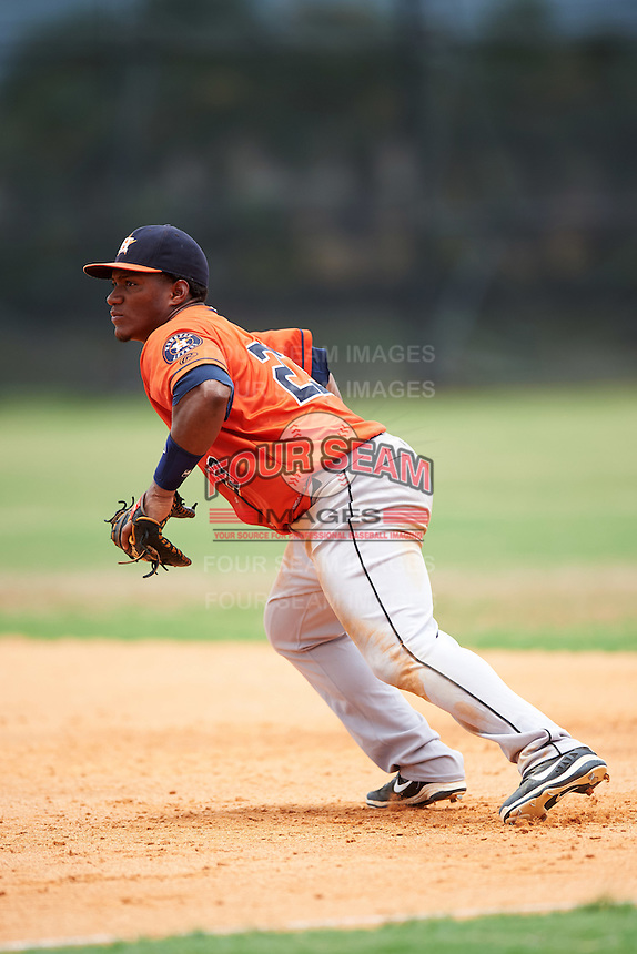 GCL Astros first baseman Cristopher Luciano (23) during a game against the GCL Nationals on August 14, 2016 at the Carl Barger Baseball Complex in Viera, Florida.  GCL Nationals defeated GCL Astros 8-6.  (Mike Janes/Four Seam Images)