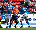 Dundee Utd's Gary Mackay-Steven and St Johnstone's James Dunne face up to each other.