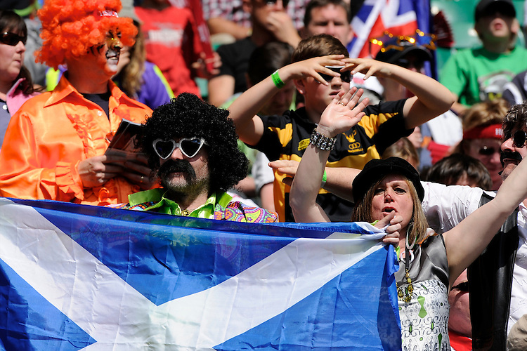 Scottish fans enjoying the rugby and the sunshine during the iRB Marriott London Sevens at Twickenham on Sunday 13th May 2012 (Photo by Rob Munro)