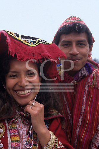 Ollantaytambo, Peru. Couple on their wedding day wearing traditional dress.