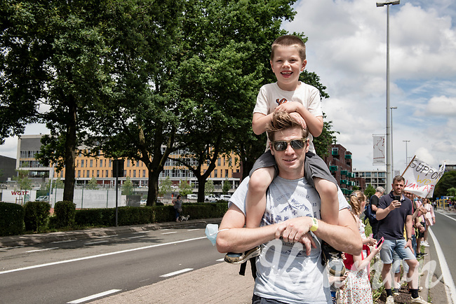 Former Belgian Champion (and now retired pro) Jurgen Roelandts visiting the Belgian National Championships 2021 - Road Race with his son, to cheer on (uncle) Jens Debusschere.<br /> <br /> One day race from Waregem to Waregem (221km)<br /> <br /> ©kramon