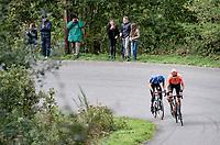 Michaël Schär (SUI/CCC) & Gino Mäder (AUT/NTT) up the Col du Rosier<br /> <br /> 106th Liège-Bastogne-Liège 2020 (1.UWT)<br /> 1 day race from Liège to Liège (257km)<br /> <br /> ©kramon