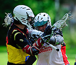 BERLIN, GERMANY - JUNE 21: Round Robin match of BL West (white) vs ELF (black/yellow) during the Berlin Open Lacrosse Tournament 2013 at Stadion Lichterfelde on June 21, 2013 in Berlin, Germany. Final score 9-3. (Photo by Dirk Markgraf/www.265-images.com)