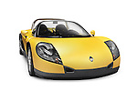 Yellow 1999 Renault Sport Spider Roadster French sports car isolated on white background with clipping path Image © MaximImages, License at https://www.maximimages.com