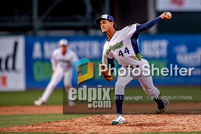 29 August 2019: Vermont Lake Monsters pitcher Yorlenis Noa on the mound against the Connecticut Tigers at Centennial Field in Burlington, Vermont. The Lake Monsters fell to the Tigers 6-2 in the first game of their NY Penn League double-header.  Mandatory Credit: Ed Wolfstein Photo *** RAW (NEF) Image File Available ***