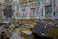 Cambodia.  Ta Prohm Temple Ruins, 12th-13th. Century.  Devatas (Deities) among the Ruins of an Interior Courtyard.