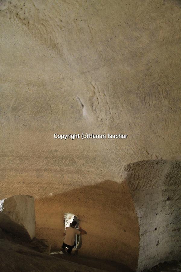 Israel, Shephelah, Beth Guvrin national park, a cave in Tel Maresha