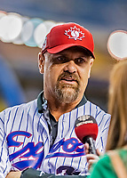 25 March 2019: Former Montreal Expo outfielder Larry Walker is interviewed prior to an exhibition game between the Toronto Blue Jays and the Milwaukee Brewers at Olympic Stadium in Montreal, Quebec, Canada. Walker was invited to Montreal to celebrate the 50-year Anniversary of the Montreal Expos. The Brewers defeated the Blue Jays 10-5 in the first of two MLB pre-season games in the former home of the Montreal Expos. Mandatory Credit: Ed Wolfstein Photo *** RAW (NEF) Image File Available ***