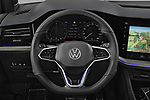 Car pictures of steering wheel view of a 2021 Volkswagen Touareg R 5 Door SUV Steering Wheel