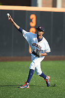 Buies Creek Astros starting pitcher Jorge Alcala (28) warms up in the outfield prior to the game against the Frederick Keys at Jim Perry Stadium on April 28, 2018 in Buies Creek, North Carolina. The Astros defeated the Keys 9-4.  (Brian Westerholt/Four Seam Images)