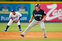 Joseph DeCarlo (5) of the Pulaski Mariners takes his lead off of second base against the Burlington Royals at Burlington Athletic Park on June20 2013 in Burlington, North Carolina.  The Royals defeated the Mariners 2-1 in 13 innings.  (Brian Westerholt/Four Seam Images)