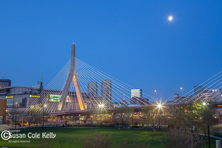 Paul Revere Park and a view of the Zakim Bridge in the Charlestown neighborhood, Boston, Massachusetts, USA