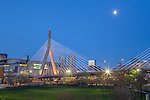 Paul Revere Park and a view of the Zakim Bridge in the Charlestown neighborhood, Boston, Massachusetts, USA
