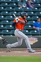 Jason Martin (6) of the Buies Creek Astros follows through on his swing against the Winston-Salem Dash at BB&T Ballpark on April 13, 2017 in Winston-Salem, North Carolina.  The Dash defeated the Astros 7-1.  (Brian Westerholt/Four Seam Images)