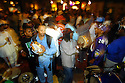 Mardi Gras Indian tribes from Uptown and Downtown gather at Tipitina's on Sundays for open rehearsal of chanting, drumming and dancing in New Orleans, January 8, 2006..(Cheryl Gerber for New York Times)
