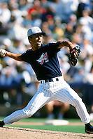 Shigetoshi Hasegawa of the Anaheim Angels during a Spring Training game circa 1999 in Phoenix, Arizona. (Larry Goren/Four Seam Images)
