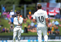 NZ captain Kane Williamson discusses tactics with bowler Neil Wagner during day one of the international cricket 1st test match between NZ Black Caps and England at Bay Oval in Mount Maunganui, New Zealand on Thursday, 21 November 2019. Photo: Dave Lintott / lintottphoto.co.nz
