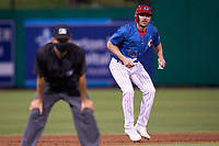 Philadelphia Phillies Matt Joyce (35), on rehab assignment with the Clearwater Threshers, leads off second base during a game against the Dunedin Blue Jays on May 18, 2021 at BayCare Ballpark in Clearwater, Florida.  (Mike Janes/Four Seam Images)
