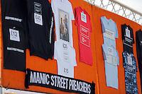 Pictured: Manic Street Preachers merchandise Saturday May 2016<br /> Re: Manic Street Preachers at the Liberty Stadium, Swansea, Wales, UK