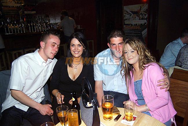 Joseph Treanor,Sonia McCarthnet,John Jaughan,and Rachael Moran enjoying a night in The Star and Crecent...Pic Newsfile