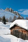 Italy, Veneto, Province Belluno, hay hut at Passo di Fedaia   Italien, Veneto, Provinz Belluno, Heuhuette am Fedaiapass