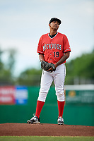 Batavia Muckdogs starting pitcher Humberto Mejia (19) gets ready to deliver a pitch during a game against the West Virginia Black Bears on June 19, 2018 at Dwyer Stadium in Batavia, New York.  West Virginia defeated Batavia 7-6.  (Mike Janes/Four Seam Images)