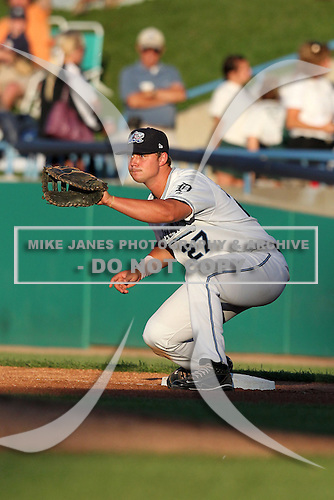West Michigan Whitecaps first baseman Clay Jones (27) during a game vs. the South Bend Silver Hawks at Fifth Third Field in Comstock Park, Michigan August 16, 2010.   West Michigan defeated South Bend 3-2.  Photo By Mike Janes/Four Seam Images