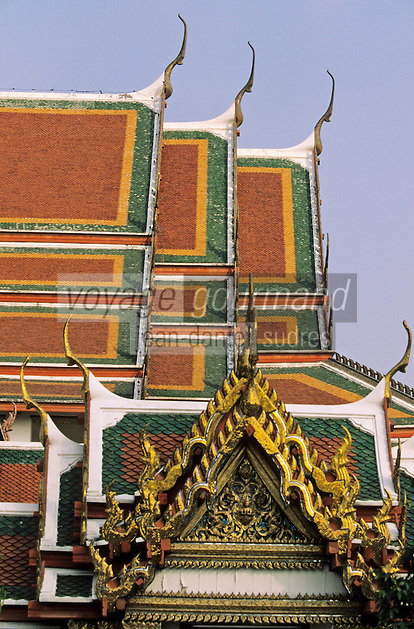 Thaïlande/Bangkok: Temple de Wat Pho ou temple du Bouddha Couché - Détail du toit