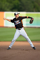 Aberdeen IronBirds shortstop Mason McCoy (6) makes a throw to first base between innings of the game against the Hudson Valley Renegades at Leidos Field at Ripken Stadium on July 27, 2017 in Aberdeen, Maryland.  The Renegades defeated the IronBirds 2-0 in game one of a double-header.  (Brian Westerholt/Four Seam Images)