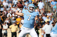 CHAPEL HILL, NC - SEPTEMBER 21: Sam Howell #7 of the University of North Carolina passes the ball during a game between Appalachian State University and University of North Carolina at Kenan Memorial Stadium on September 21, 2019 in Chapel Hill, North Carolina.