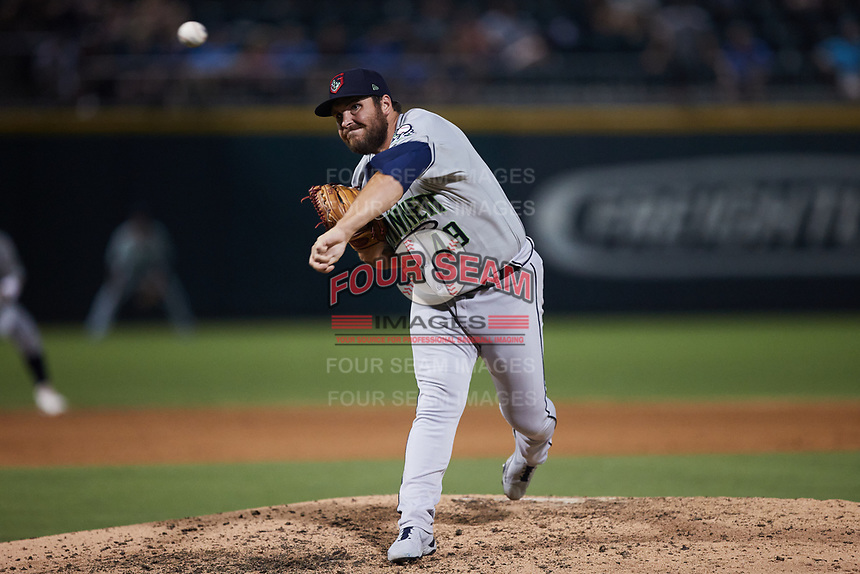Gwinnett Stripers relief pitcher Thomas Burrows (49) in action against the Charlotte Knights at Truist Field on July 17, 2021 in Charlotte, North Carolina. (Brian Westerholt/Four Seam Images)