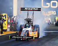 Jul 29, 2016; Sonoma, CA, USA; NHRA top fuel driver Clay Millican during qualifying for the Sonoma Nationals at Sonoma Raceway. Mandatory Credit: Mark J. Rebilas-USA TODAY Sports