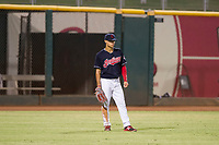 AZL Indians left fielder Tre Gantt (1) on defense against the AZL Padres on August 30, 2017 at Goodyear Ball Park in Goodyear, Arizona. AZL Padres defeated the AZL Indians 7-6. (Zachary Lucy/Four Seam Images)