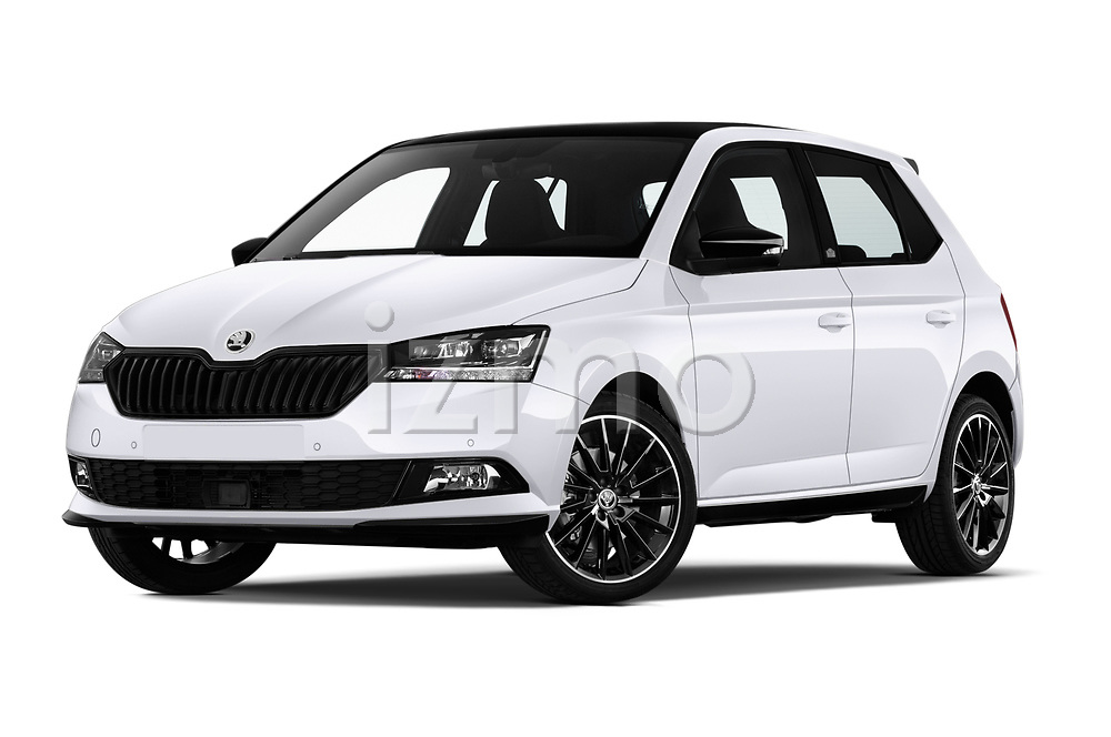 Stock pictures of low aggressive front three quarter view of 2018 Skoda Fabia Monte-Carlo 5 Door Hatchback Low Aggressive