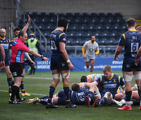 14th February 2021; Sixways Stadium, Worcester, Worcestershire, England; Premiership Rugby, Worcester Warriors versus Wasps; Referee Ian Tempest awards a try to James Gaskell of Wasps