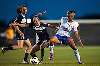 Sky Blue FC midfielder Manya Makoski (22) and forward Lianne Sanderson (10)Boston Breakers. Sky Blue FC defeated the Boston Breakers 5-1 during a National Women's Soccer League (NWSL) match at Yurcak Field in Piscataway, NJ, on June 1, 2013.