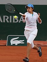 28th September 2020, Roland Garros, Paris, France; French Open tennis, Roland Garros 2020; Zhang Shuai of China returns a shot during  womens singles first round match against Madison Keys of the United States