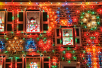 House decorated with Christmas lights, Koziar's Christmas Village, Bernville, PA, Pennsylvania, USA