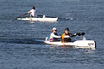 La Conner, Swinomish Channel, open water race, Sound Rowers Open Water Rowing and Paddling Club, Washington State, Pacific Northwest,  USA, Pete Wells and Eric Wermus in a HPK2 with Tyler Petersen in a 1x-OWII