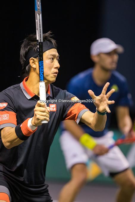 Rotterdam, The Netherlands, 2 march  2021, ABNAMRO World Tennis Tournament, Ahoy, First round doubles: Kei Nishikori (JPN) / Ben Mclachlan (JPN).<br /> Photo: www.tennisimages.com/