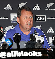 DURBAN, SOUTH AFRICA, 4 October, 2016 - Rugby Championship, Ian Foster (Assistant coach) during the New Zealand (All Blacks) MEDIA CONFERENCE with Coach followed by two players at the Garden Court uMhlanga Durban, South Africa. (Photo by Steve Haag)