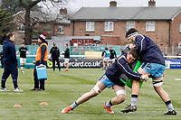 Matt Eliet and Lewis Wynne of London Scottish warm up during the Greene King IPA Championship match between Ealing Trailfinders and London Scottish Football Club at Castle Bar , West Ealing , England  on 19 January 2019. Photo by Carlton Myrie/PRiME Media Images