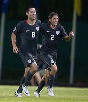 Clint Dempsey and Frankie Hejduk celebrate Dempsey's goal. USA 1-0 over Cuba, at the Estadio Nacional De Futbol Pedro Marrero Saturday, Sept. 6, 2008, during CONCACAF qualifying for the 2010 World Cup.