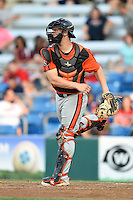 Aberdeen IronBirds catcher Alex Murphy (32) throws down to second in between innings during a game against the Williamsport Crosscutters on August 4, 2014 at Bowman Field in Williamsport, Pennsylvania.  Aberdeen defeated Williamsport 6-3.  (Mike Janes/Four Seam Images)