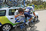 Adam Blythe (GBR) Orica GreenEdge gets a saddle adjustment from his team car during Stage 3 of the 2015 Presidential Tour of Turkey running 165.3km from Kemer to Elmali. 28th April 2015.<br /> Photo: Tour of Turkey/Mario Stiehl/www.newsfile.ie