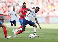 SANDY, UT - JUNE 10: Yunus Musah #18 of the United States turns with the ball during a game between Costa Rica and USMNT at Rio Tinto Stadium on June 10, 2021 in Sandy, Utah.