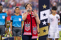 CHARLOTTE, NC - OCTOBER 3: The anthem singer performs during a game between Korea Republic and USWNT at Bank of America Stadium on October 3, 2019 in Charlotte, North Carolina.