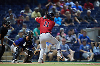 Nick Decker (11) of the Salem Red Sox at bat against the Kannapolis Cannon Ballers at Atrium Health Ballpark on July 29, 2021 in Kannapolis, North Carolina. (Brian Westerholt/Four Seam Images)