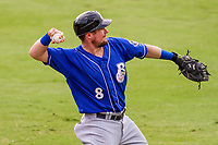 Biloxi Shuckers catcher Tyler Heineman (8) warms up in the outfield prior to a Southern League game against the Jackson Generals on July 26, 2018 at The Ballpark at Jackson in Jackson, Tennessee. Jackson defeated Biloxi 9-5. (Brad Krause/Four Seam Images)