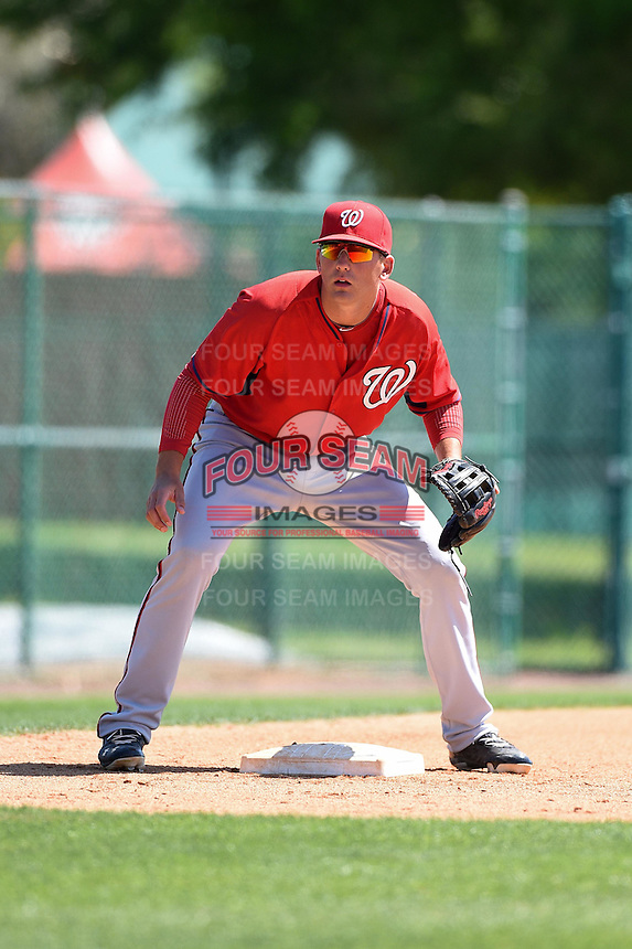 Washington Nationals infielder John Wooten (19) during practice before a minor league spring training game against the Atlanta Braves on March 26, 2014 at Wide World of Sports in Orlando, Florida.  (Mike Janes/Four Seam Images)